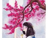 Original Watercolor Painting Art. Blooming Flowers and Full Moon.