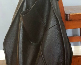 Easy Hobo Slouch Tote, Rounded Edge Black Leather Bag, Upcycled and OOAK
