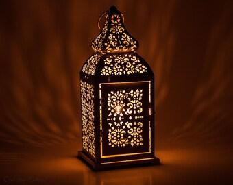Moroccan Floor lamp-Table lantern-Bedside lamp- Bedside Decor-Desk Decor-Home Decor-French Creamy White Gold Lantern Centerpiece