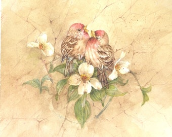 Rosy Finch Pair with Dogwood 7.5 x 8.5 original watercolor