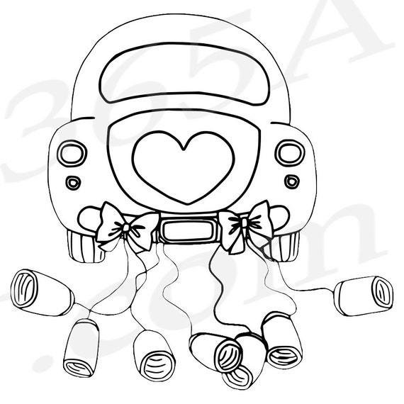 50% OFF Just Married Car Clipart Clip art Wedding Car