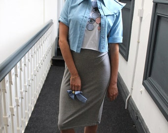 Blue Pastel Cropped Shirt Alternative Collar Rolled Sleeved