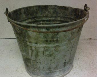 Rustic galvanized pail