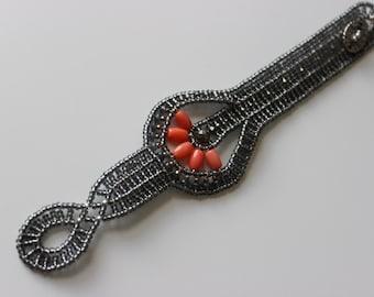 ORANGE CORAL BRACELET * handmade beaded bracelet * one of a kind, perfect for gift!