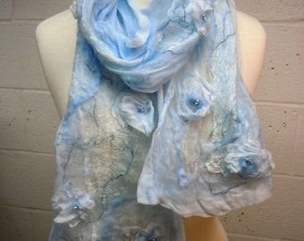 Pale Blue Nuno Felted Scarf with silk flowers, hand beading