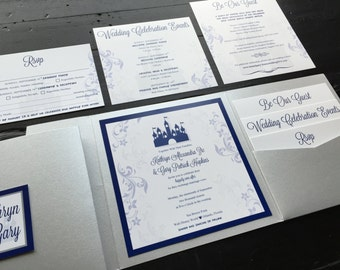 Fairytale Custom Pocket Wedding Invitation Suite; includes an RSVP postcard, Reception and Accommodations insert cards