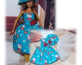 Spring 2016 Play sets by Di. Handmade Barbie Dress in Hello Kitty Fabric, White Tulle Petticoat and Matching Hat.  Handmade Barbie Clothes