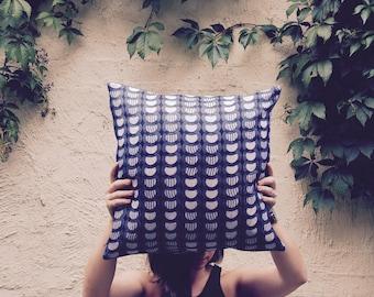 African Inspired Blue Velvet Cushion Cover