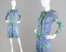 Vintage 60s EMILIO PUCCI Silk Jersey Shift Dress Psychedelic Print 1960s Mod Dress Italian Designer Made in Italy Blue & Green Summer Dress