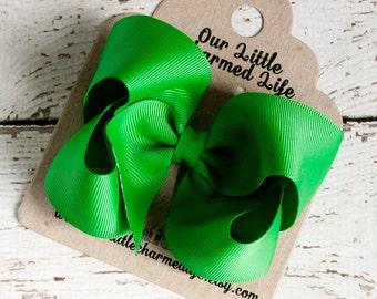 Green Hair Bow, Green Hairbow, Boutique Hair Bow, Green Hair Clip, Baby Hair Bow, Infant Hair Bow, Girls Hair Bow, Toddler Hair Bow