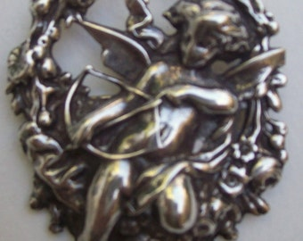 Vintage STERLING SILVER Pin / Brooch with CUPID and His Bow/Arrow resting on Garland of Flowers