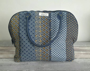 Denim shoulder bag, upcycled denim, patchwork, African shweshwe fabric, leather straps, navy, yellow
