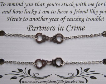 Best Friend Bracelet, Partners in Crime Bracelet with handcuff charms, 2 Friendship Bracelets, BFF gift, Christmas Present, Stocking Stuffer