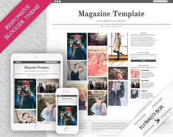 """Responsive Blogger Template """"Magazine"""" ⊳ pre-made minimal Blogger theme with Pinterest-style layout"""