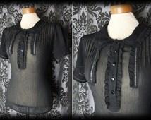Goth Black Sheer Peter Pan Collar FIENDISH Frilled Blouse 8 10 Victorian Vintage