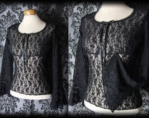 Goth Black Sheer Lace DIAPHANOUS Wide Cuff Fitted Blouse 10 12 Victorian Vintage