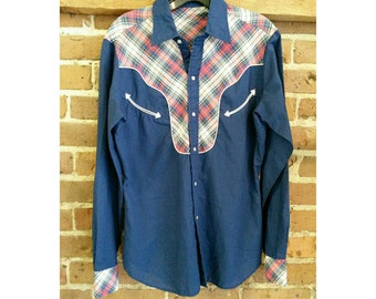 Vintage men's western snap shirt- navy blue and plaid western shirt