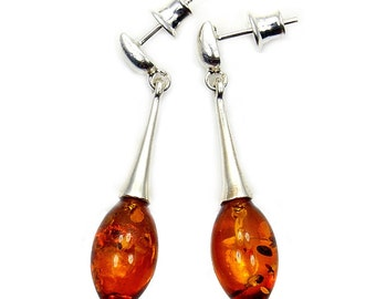 Natural Baltic Amber & .925 Sterling Silver Dangle Earrings , Y865