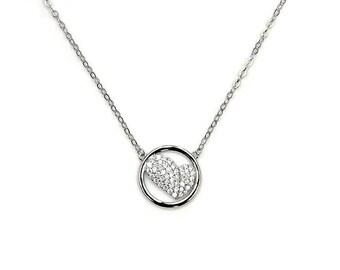 My Love Cubic Zirconia Heart & .925 Sterling Silver Necklace Jewelry , Z809