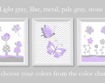 Aqua Gray Purple Nursery Art Monogram By Sweetpeanurseryart