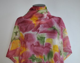 Vintage HANDMADE , hand painted silk scarf , hand rolled silk scarf...(122)