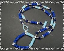 Collier 47cm Japanische Rocailles Kristallperlen Necklace Seed Beads Faceted Beads