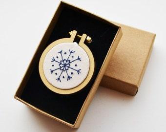 Snowflake Brooch Miniature Hand Embroidery Hoop 4cm