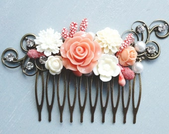 Hair Comb, White and Coral rhinestone hair comb.