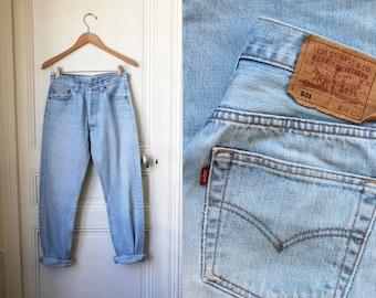 LEVIS 501 jeans washed blue denim 90s grunge Levi's vintage jeans light blue bleach blue used - W 29 L 32
