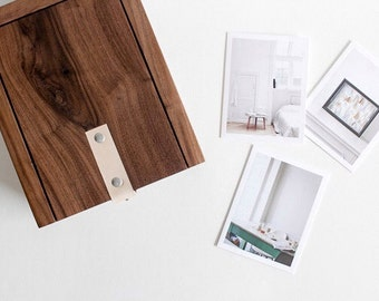 The Shuffler : Solid Walnut + Natural Leather Sliding Lid Photo Box (ideal for small prints, photos, and cards)