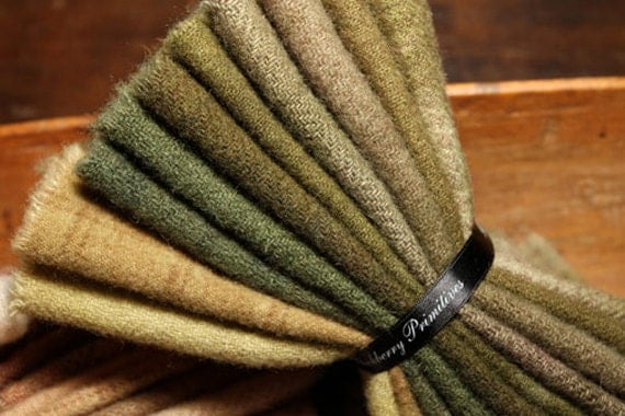 Hand Dyed 100 Percent Wool Bundle Color Green With Envy