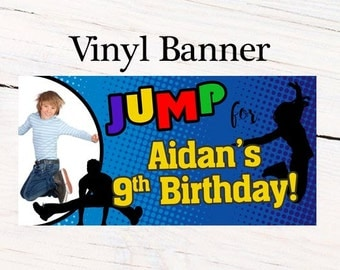 Jump Birthday Party Personalized Banner, Trampoline Birthday Banner - Vinyl Birthday Banners, Printed Banners