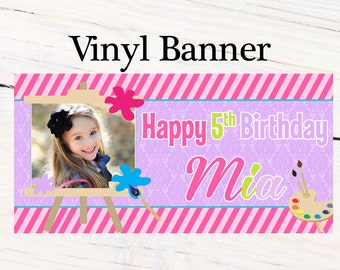 Colorful Masterpiece Personalized Banner, Painting Birthday Large Banner- Custom Banner, Painting Party Banner, Printed Vinyl Banner