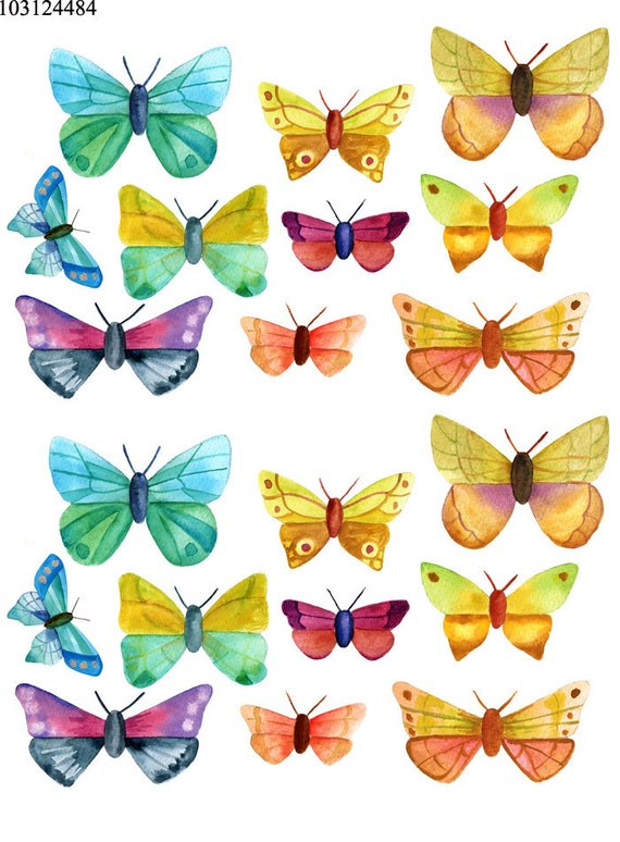Water Color Butterflies 10312 Ceramic Decal Glass