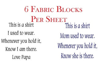 """Custom Shirt Memory """"This is a Shirt I Used to Wear"""" 6 Fabric Block Shirt Memory Pillow Poems, YOU CHOOSE Bereavement Poem Words"""