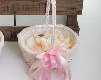 Artificial Flower Girl Basket with Petals - This can be made in ANY colour!!!