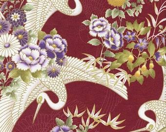 Cranes In Floral Garden: BurgundyGold Metallic Asian Japanese Fabric (Per 1/2 Yd)