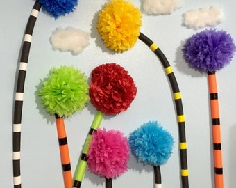 "Truffula trees for the wall. Large 16"" pom Pom. All truffula trees are shipped ground 2-9 day mail to keep the price down for you."