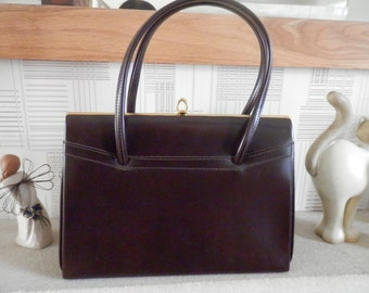 Vintage 1960s Kelly Bag Brown Gold Frame Clean Interior Brown Handbag