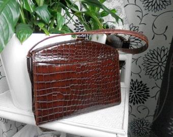 Vintage Brown Handbag from A Bennett Bag Made in England Snake Skin Effect