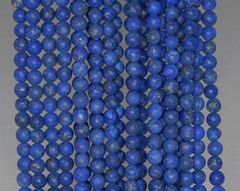 4mm Matte Lapis Lazuli Gemstone Garde A Blue Round Loose Beads 15.5 inch Full Strand (90183217-276)
