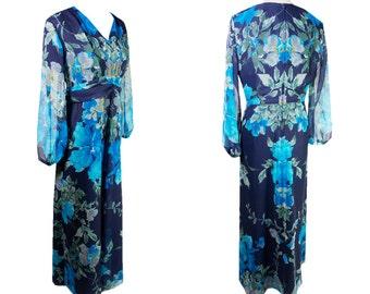 Sheer blue vintage Maxi Dress. The Party. Floor length. XL Dress. Sheer sleeves. Floral print.
