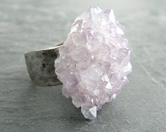 Amethyst Crystal Flower Silver Statement Ring