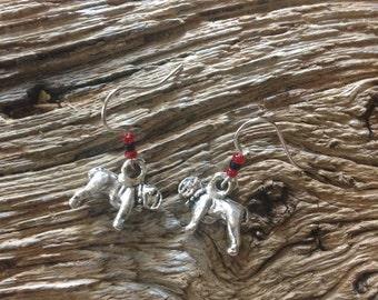 Georgia bulldogs silver bulldog earrings: bulldog earrings with red and black beads