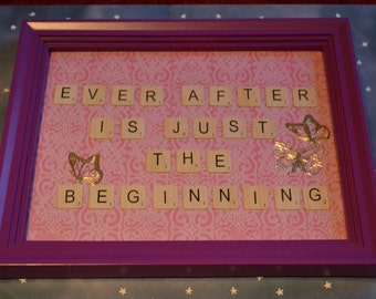 Ever After Is Just The Beginning Scrabble Tile Quote Frame