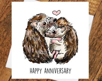 Happy Anniversary Hedgehog Hedgehug husband wife boyfriend fiancé pun cute animal funny hugs girlfriend love him her wife husband