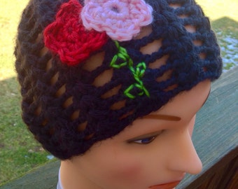 Spring crocheted lacy and embroidered beanie