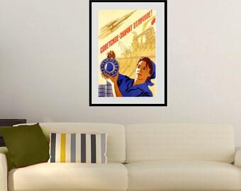Reprint of an Old Soviet Russian Communist Propaganda Poster