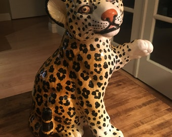 Vintage Mid Century Ceramic Italian Leopard, or Cheetah, Cub With Paw Raised
