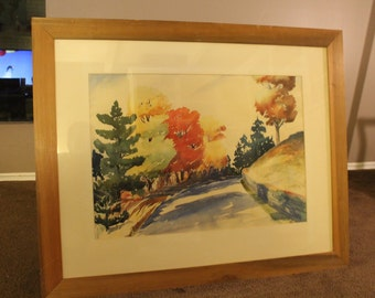 Beautiful large vintage framed and matted original signed watercolor of a road with fall foliage from 1938